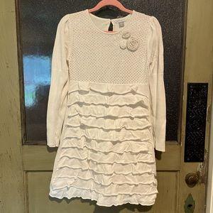 Petit Lem Girls Cream Ruffles Sweater Dress 7